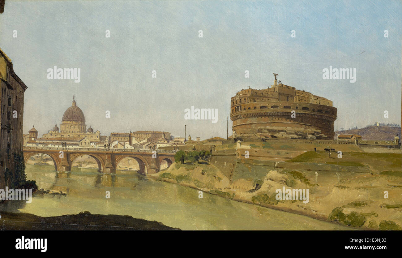 Gustaf Söderberg - Rome with St. Peter's and Castel Sant'Angelo - 1821 - Stock Image