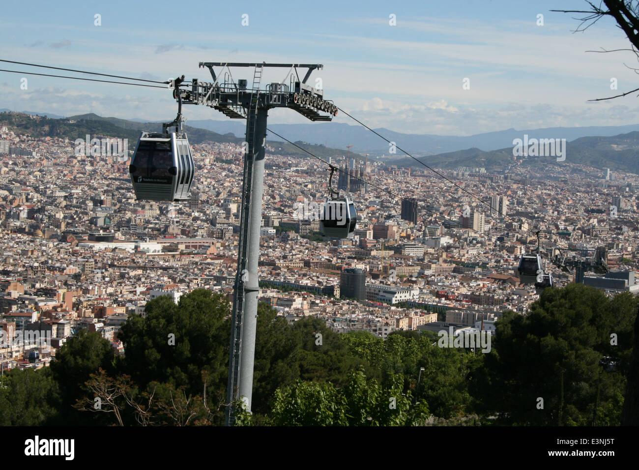 Montjuic Seilbahn Barcelona - Stock Image