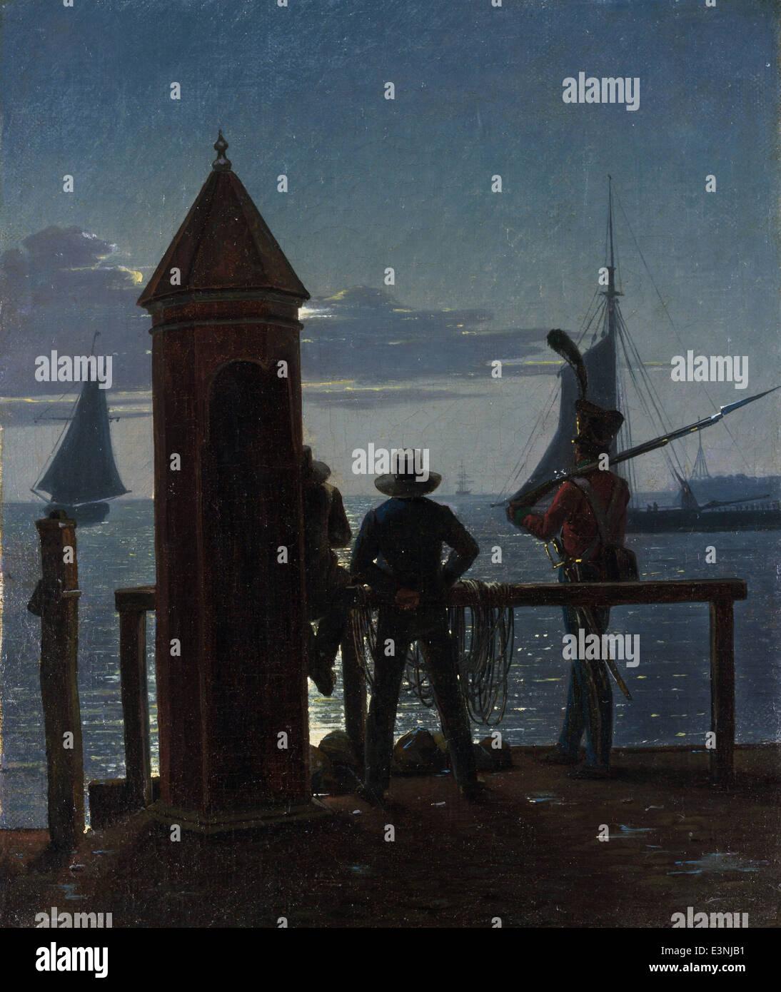 Martinus Rørbye - View from the Citadel Ramparts in Copenhagen by Moonlight - 1839 - MET Museum - New-York - Stock Image
