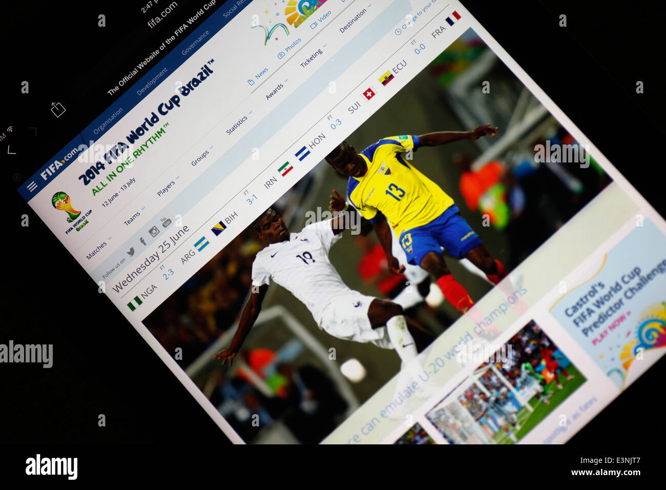 2014 FIFA world cup webpage - Stock Image