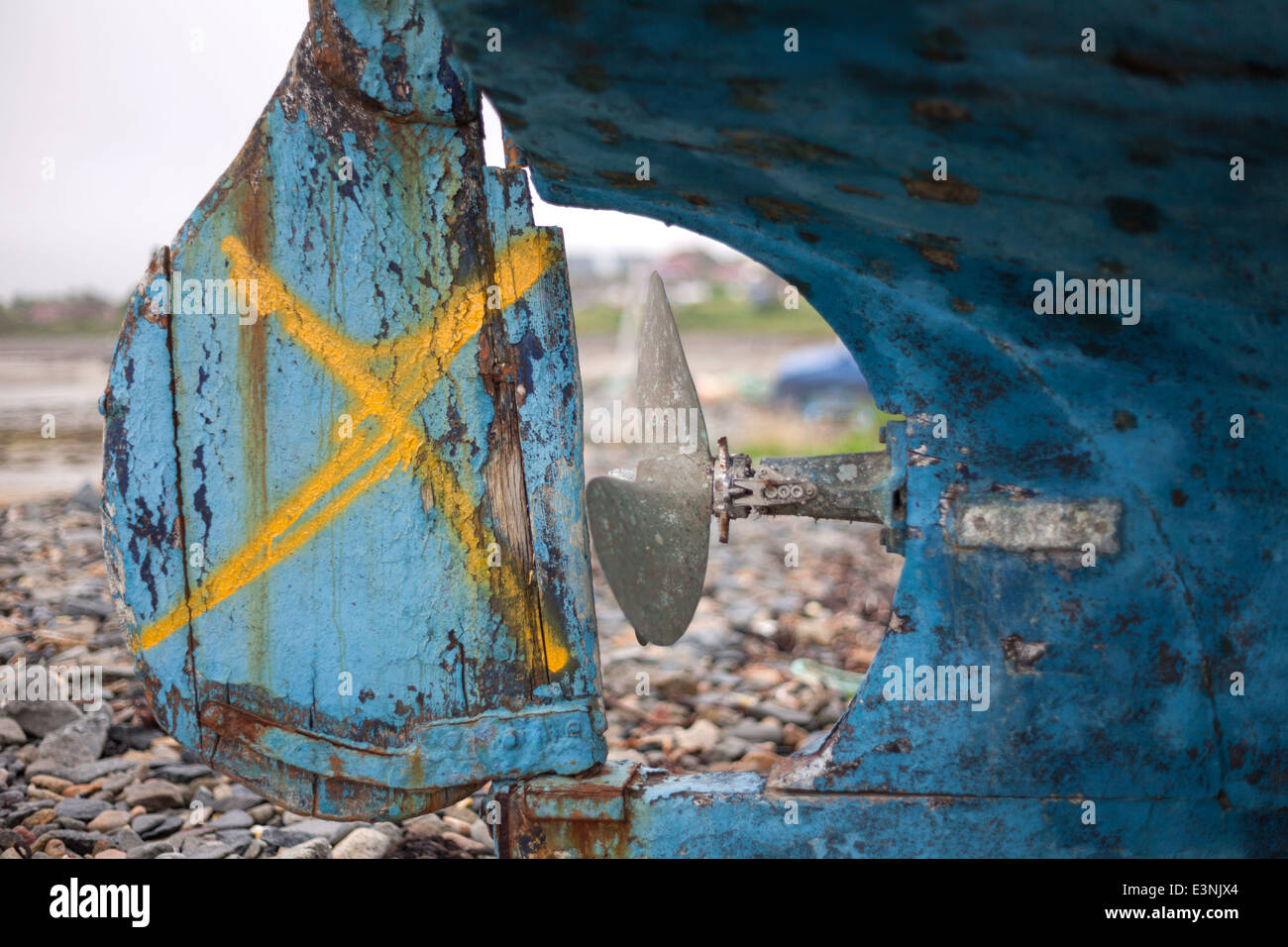 Rudder of blue fishing boat Le Grand Havre, Guernsey - Stock Image