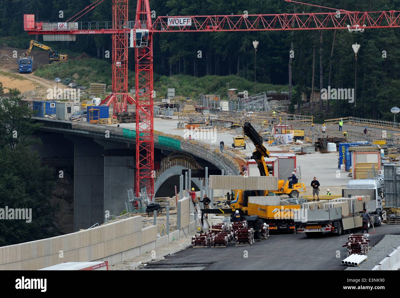 Freistadt, Austria. 25th June, 2014. Work on the second of three phases of construction of the expressway S3 to - Stock Image