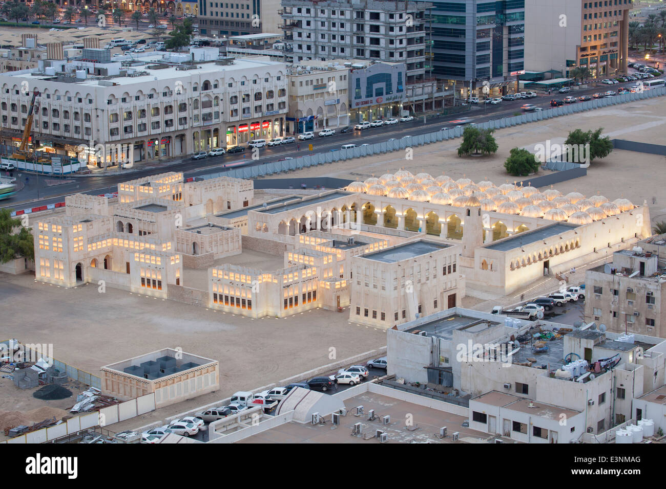Qatar, Doha, elevated view over the city centre Mosque - Stock Image