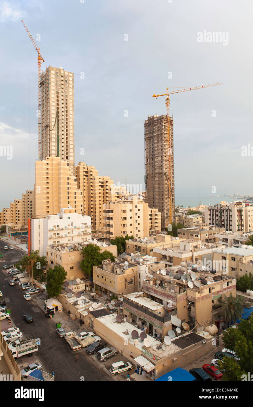 Kuwait, City Center buildings and development, elevated view - Stock Image