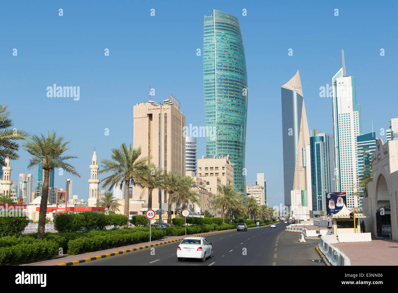 Kuwait, city skyline and central business district, elevated view - Stock Image
