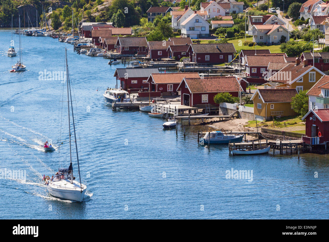 View of of an old fishing village Hamburgersund on the Swedish west coast - Stock Image