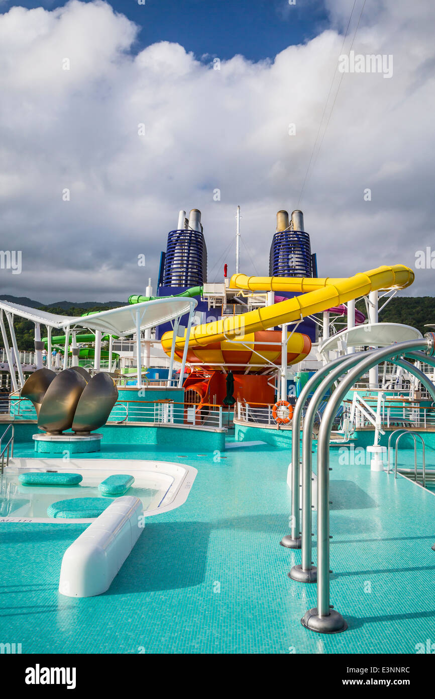 Deck 15 with pools and water slides on the Norwegian Epic cruise ship. - Stock Image