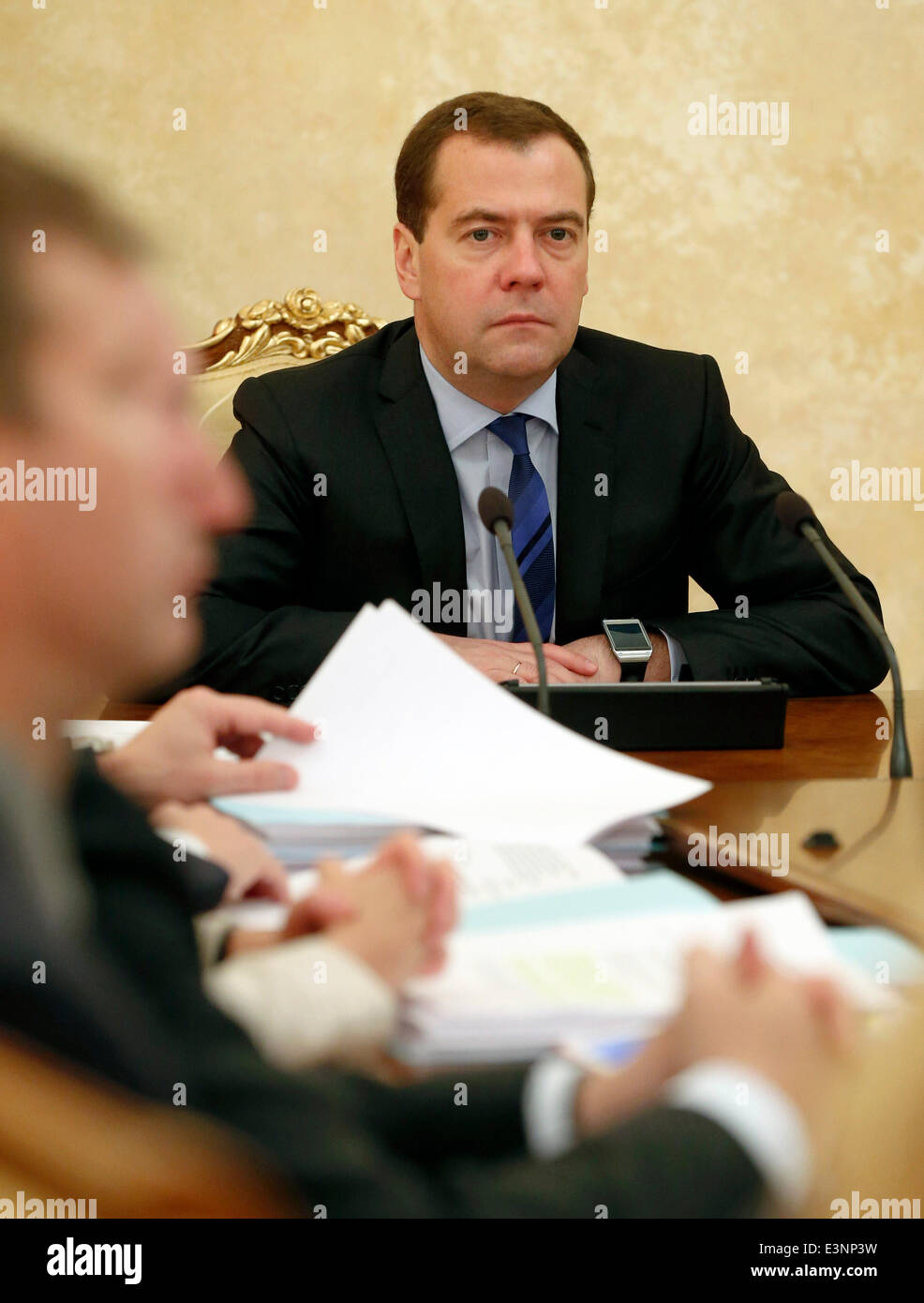 ITAR-TASS: MOSCOW, RUSSIA. JUNE 26, 2014. Russia's prime minister Dmitry Medvedev holds a meeting of the government Stock Photo