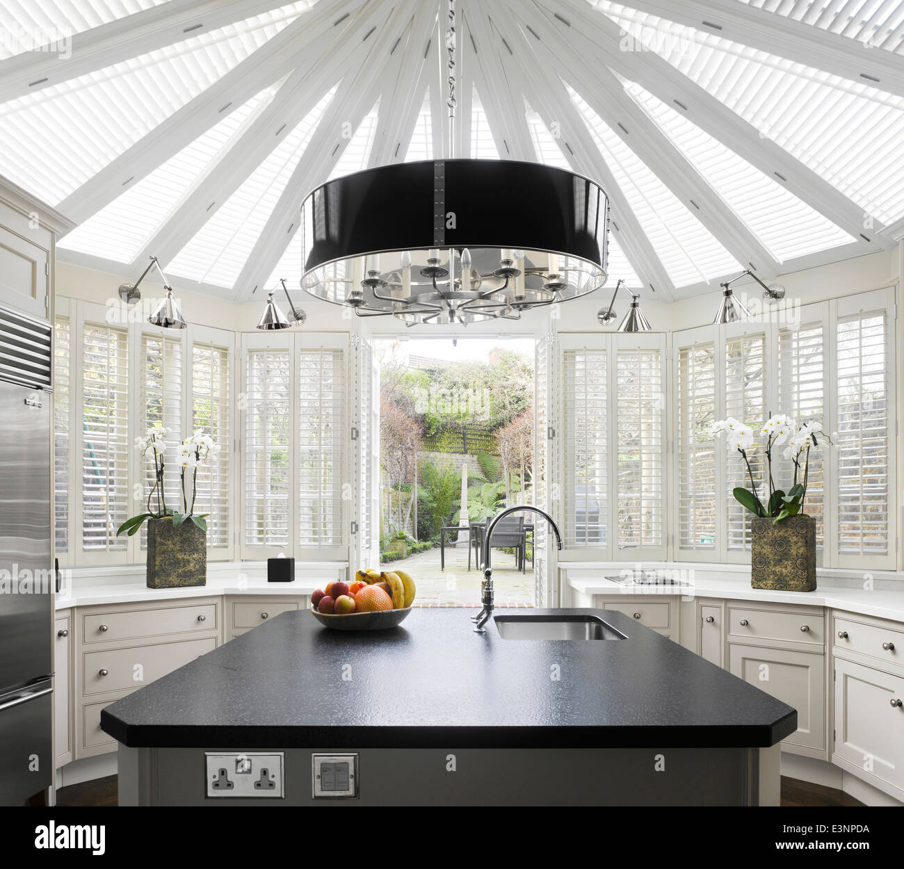 Interiors Conservatory Extension Blinds Stock Photos & Interiors ...