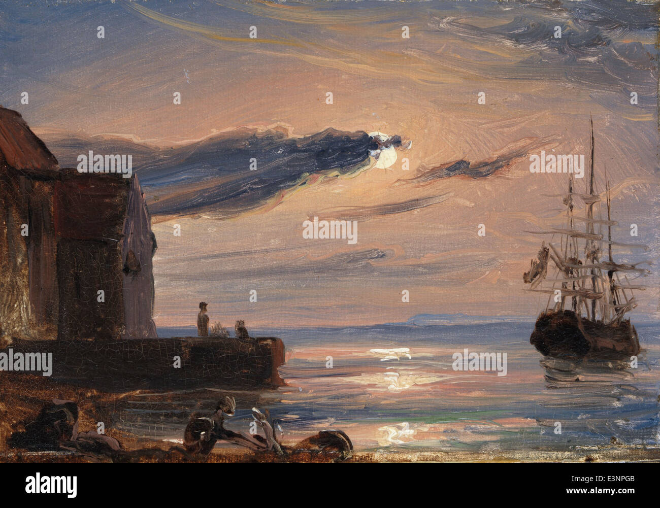 Thomas Fearnley - Moonlit Harbor in Southern Italy - 1835 - Stock Image