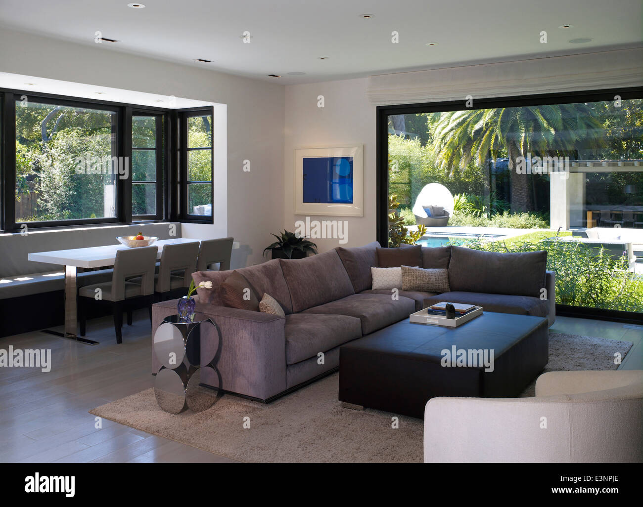 open plan living room and dining area in stone house atherton stock rh alamy com Carpet for Living Room and Dining Room Living Room and Dining Room Colors