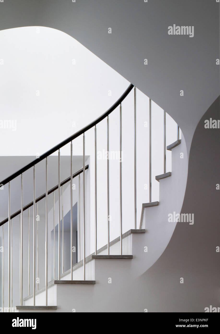Staircase detail in Stone House, Atherton, California, USA. - Stock Image