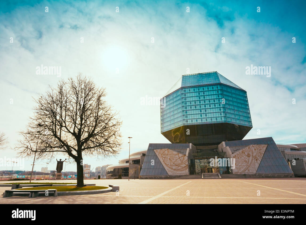 Unique building of National Library of Belarus in Minsk, Belarus. The building has 22 floors and is 72-metre high. - Stock Image