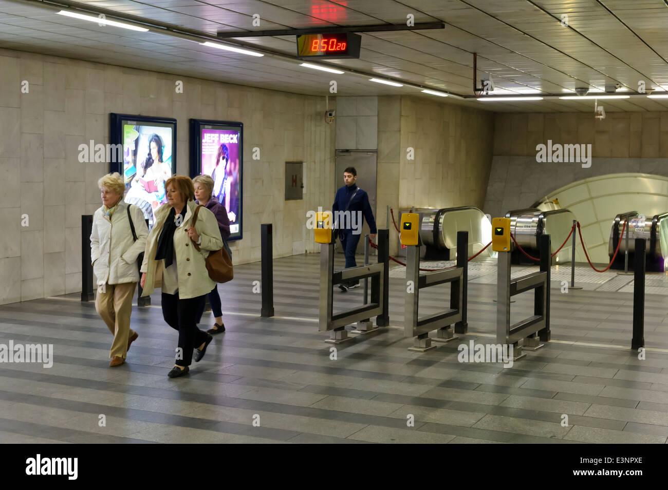 Commuters at the Mustek Metro, Prague, Czech Republic. - Stock Image