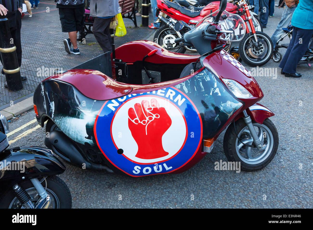 Northern soul fist sign emblem on scooter - Stock Image