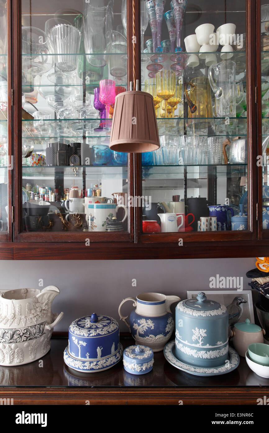 Wedgewood Jasperware on kitchen cabinet beneath another ...