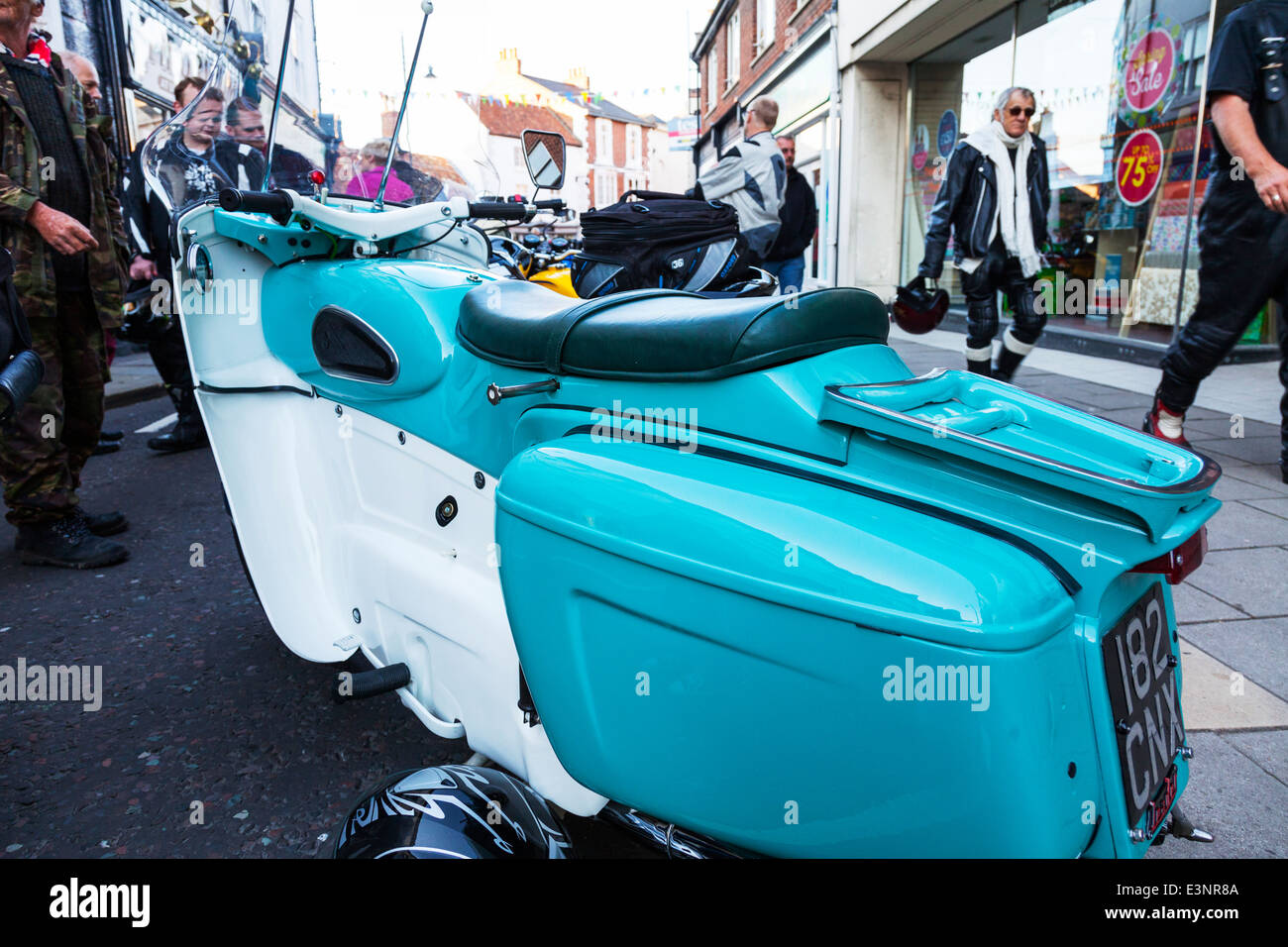 Ariel leader  motorbike motor cycle motorcycle bike parked police colour colours - Stock Image