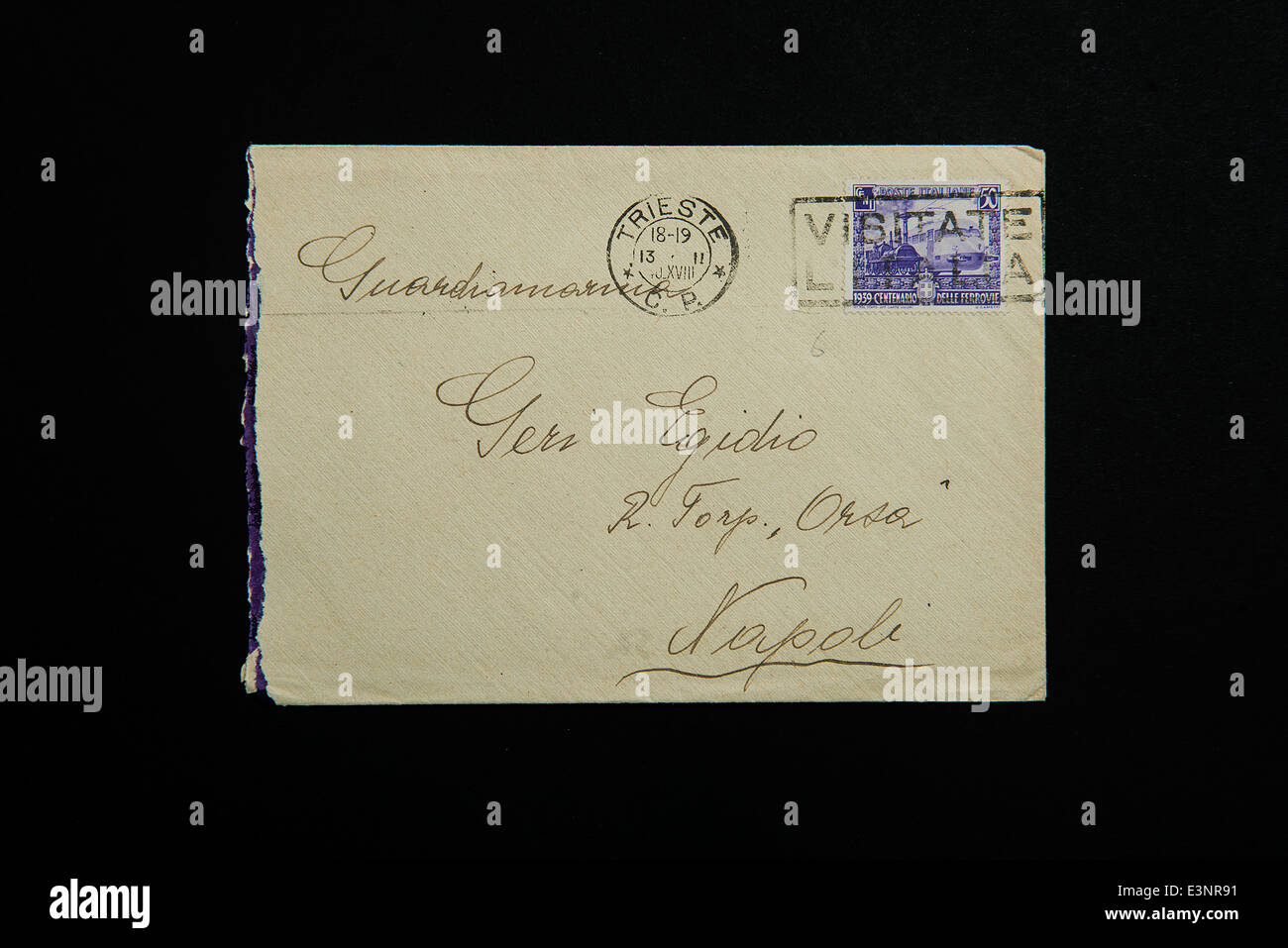 Old Italian stamps in an envelope - Stock Image
