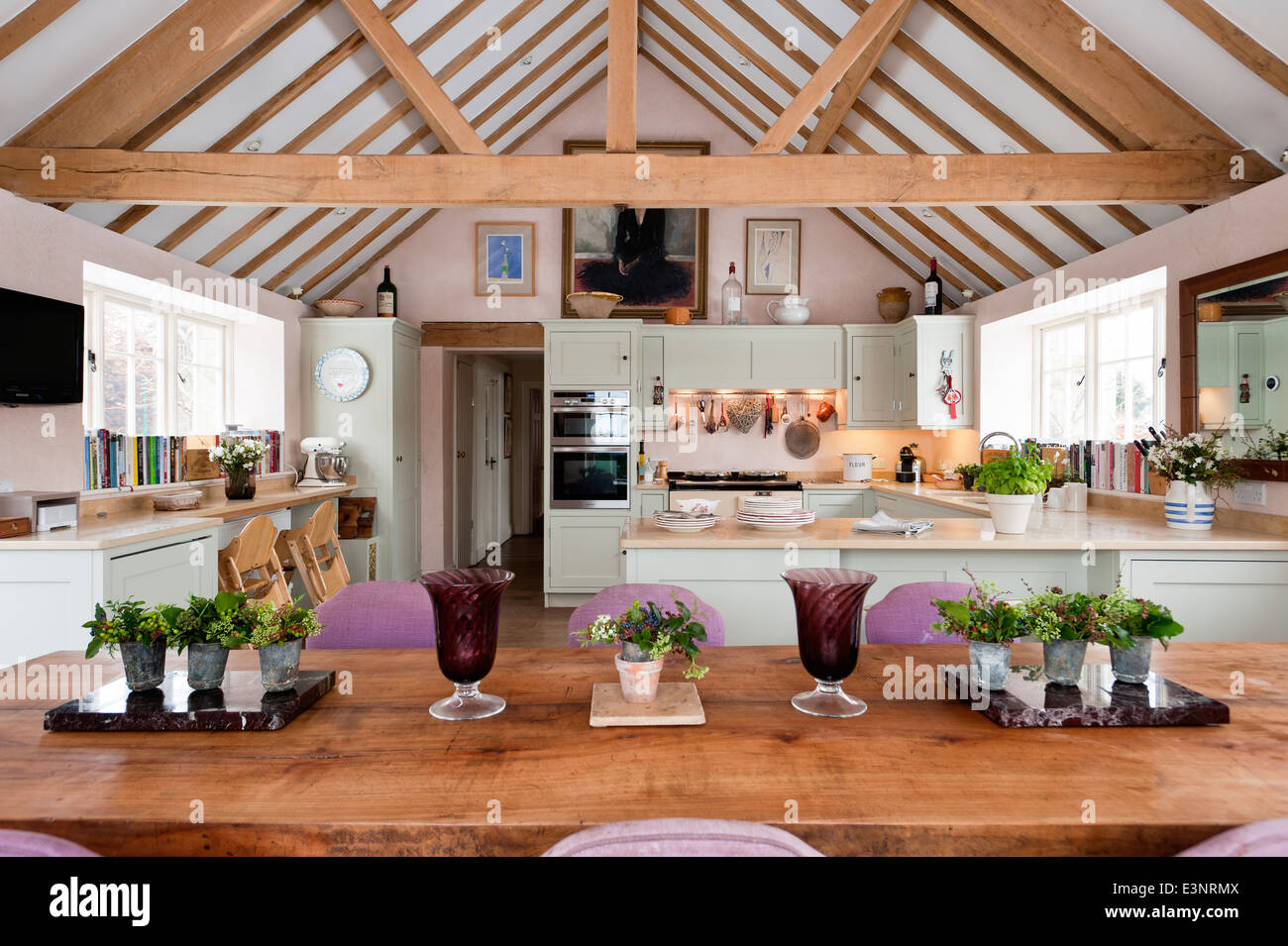 Open Plan Kitchen Diner With Pitched Roof And Beamed Ceilings The Dining Chairs Are Upholstered In Maya By Manuel Canovas Stock Photo Alamy
