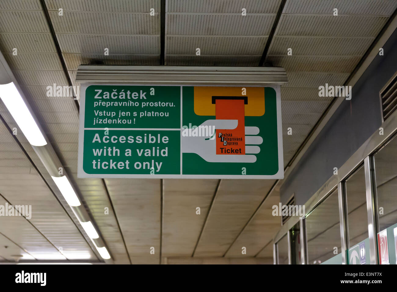 Warning sign to use a valid Metro ticket, Prague, Czech Republic. - Stock Image