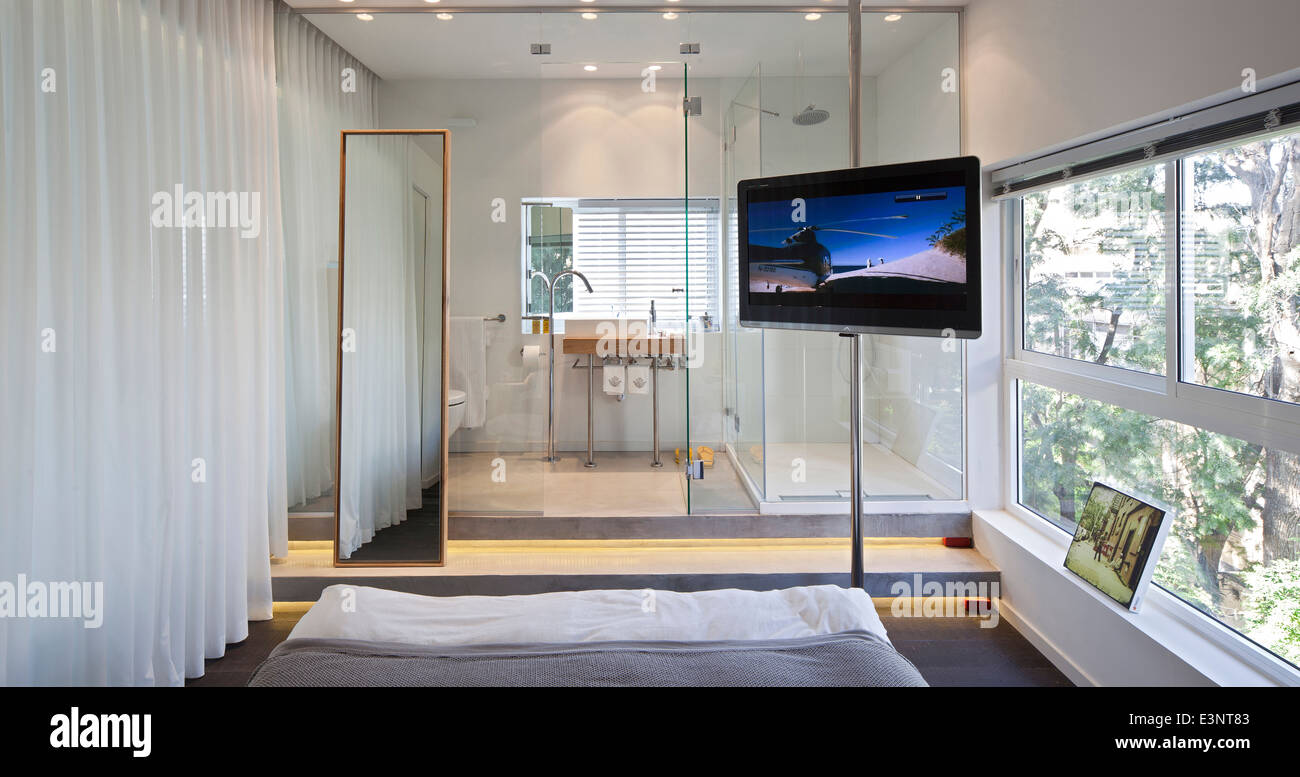 Bedroom With Full Length Mirror In Amir Navon House, Israel, Middle East.