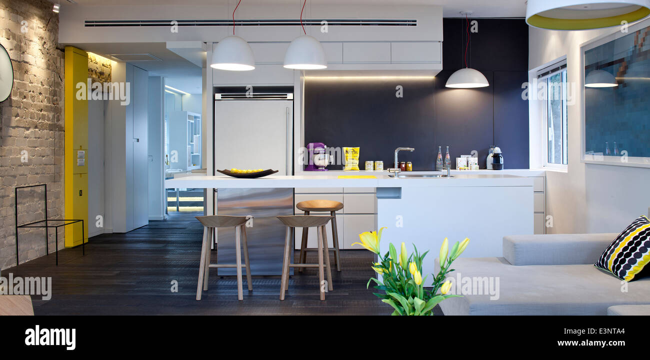 Open plan kitchen and living room in Amir Navon House, Israel, Middle East. - Stock Image