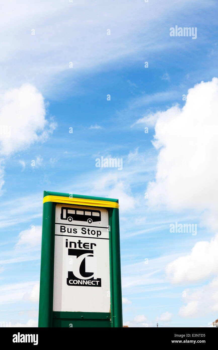 Bus stop sign inter connect public transport Lincolnshire UK England - Stock Image