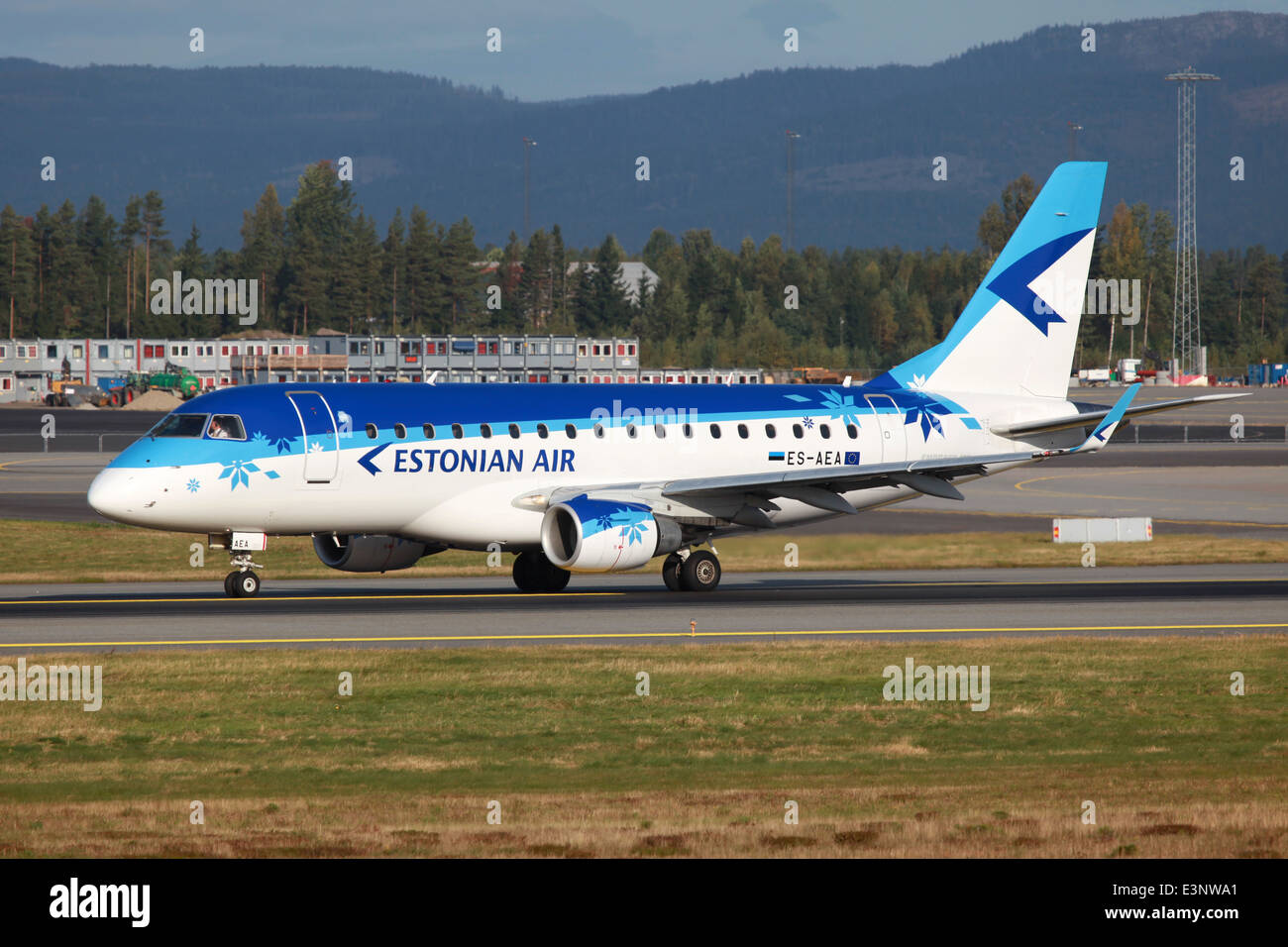 Estonian Air Embraer 170 jet airliner with the registration ES-AEA - Stock Image