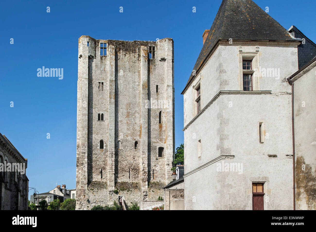 Dungeon of the medieval castle Château de Beaugency, one of the Châteaux of the Loire Valley, Loiret, - Stock Image