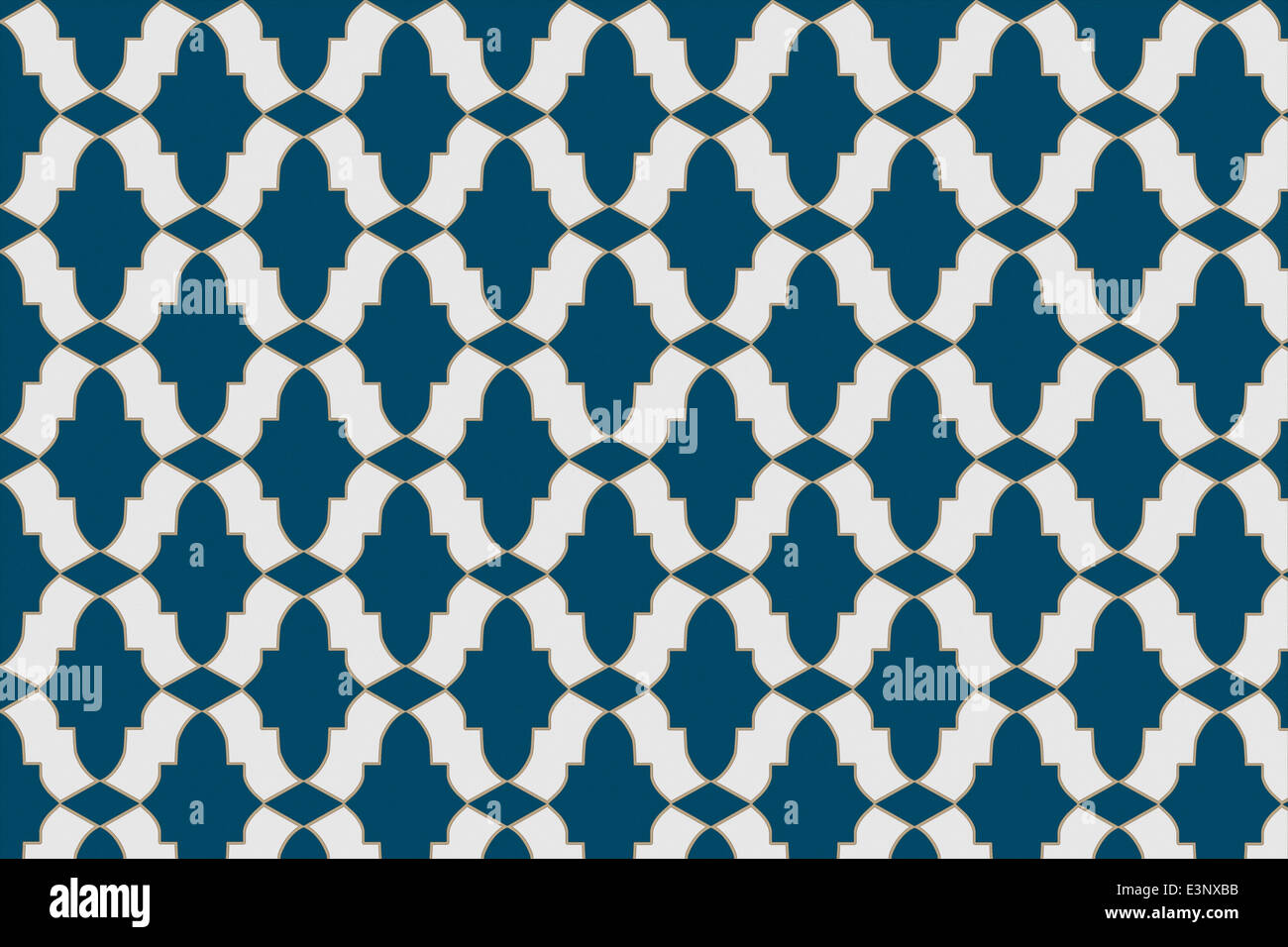 Area of mosaic tiles with three basic tile shapes to create a pattern based on a Moroccan design in blue and white Stock Photo