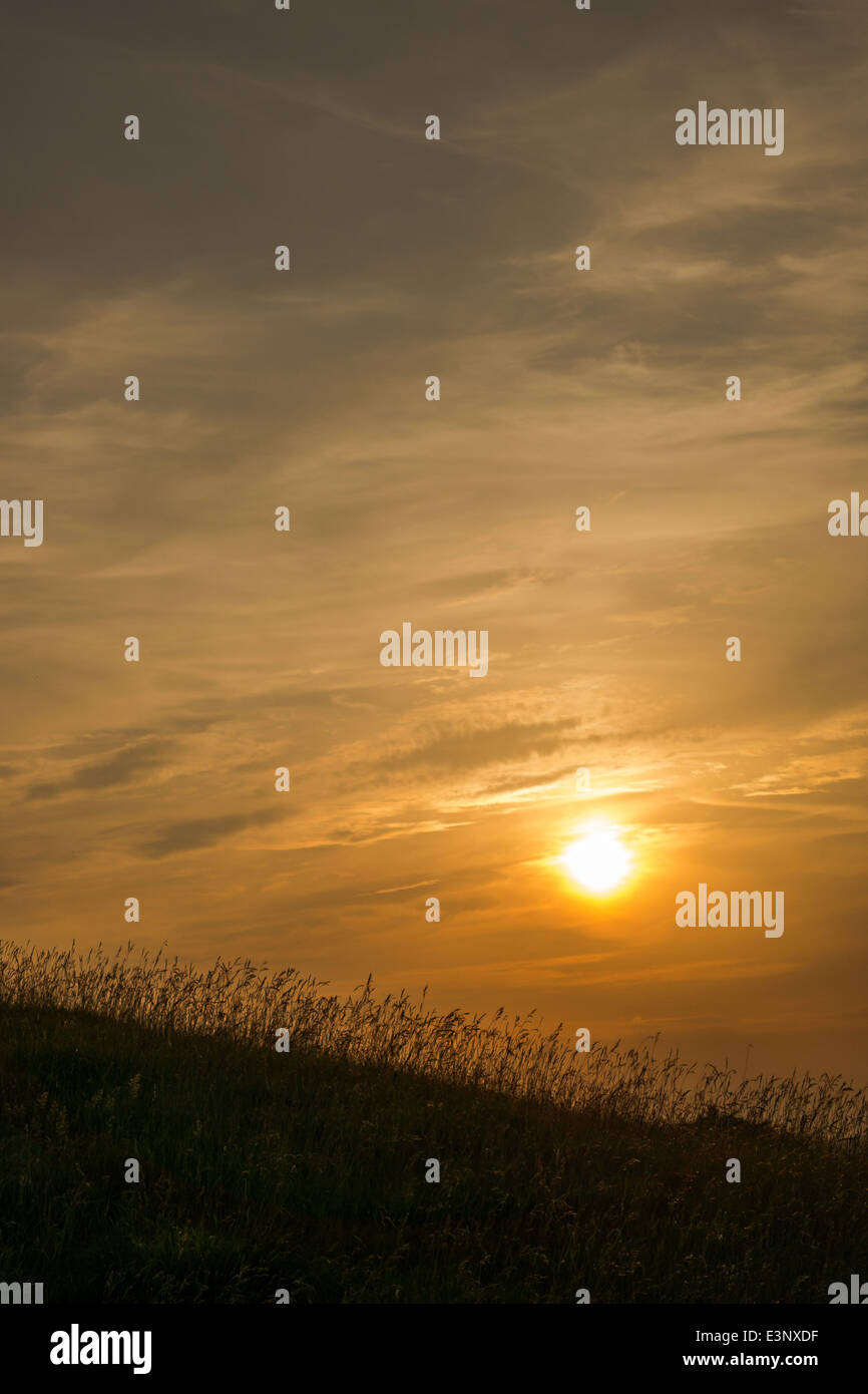 Sunset on one of the hills at Ivinghoe Beacon in Buckinghamshire, UK - Stock Image