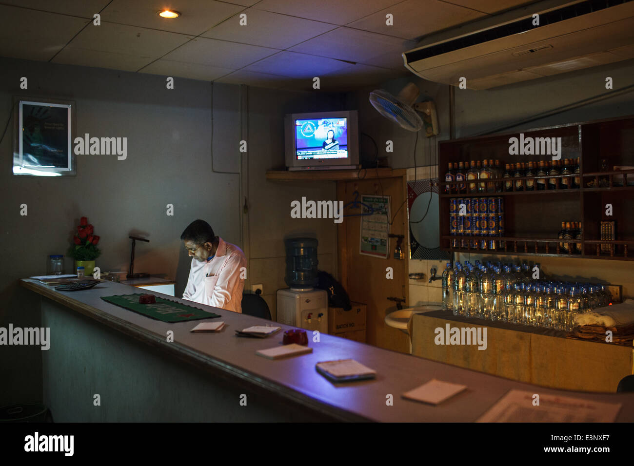 Interior of a licensed bar serving alcohol in Dhaka, Bangladesh - Stock Image