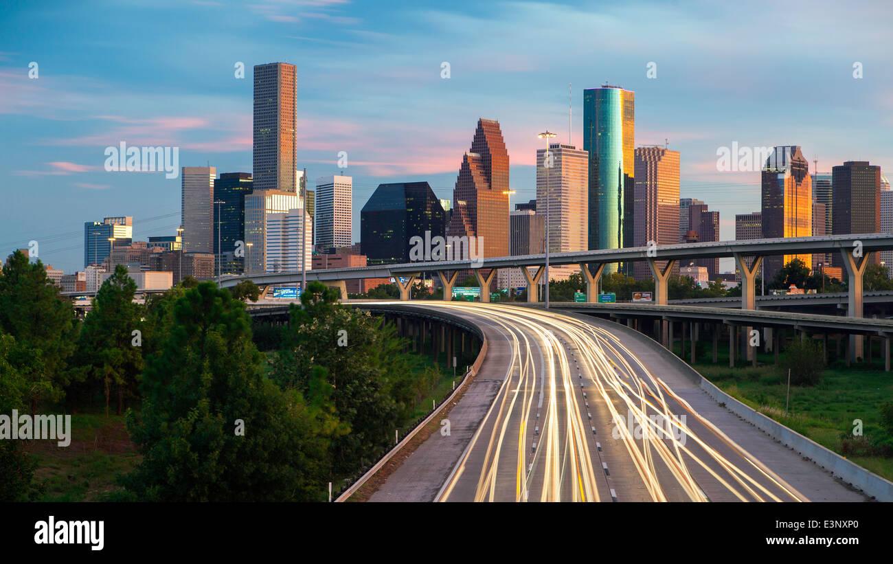 City skyline and Interstate, Houston, Texas, United States of America - Stock Image