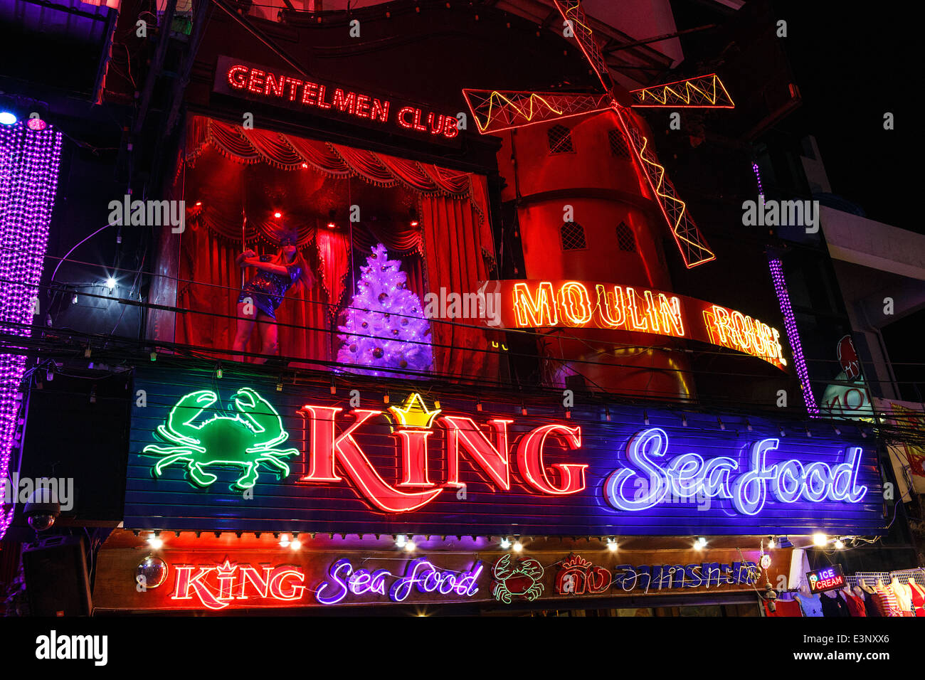 A nightclub go-go bar catering to Russians on Walking Street in Pattaya, Thailand - Stock Image