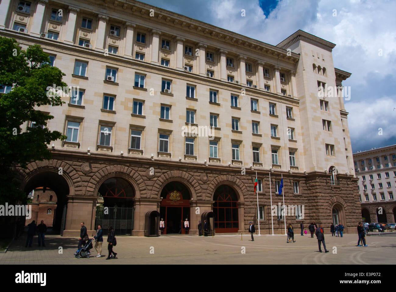 People walking outside Presidential palace, Atanas Burov square, central Sofia, Bulgaria, Europe Stock Photo