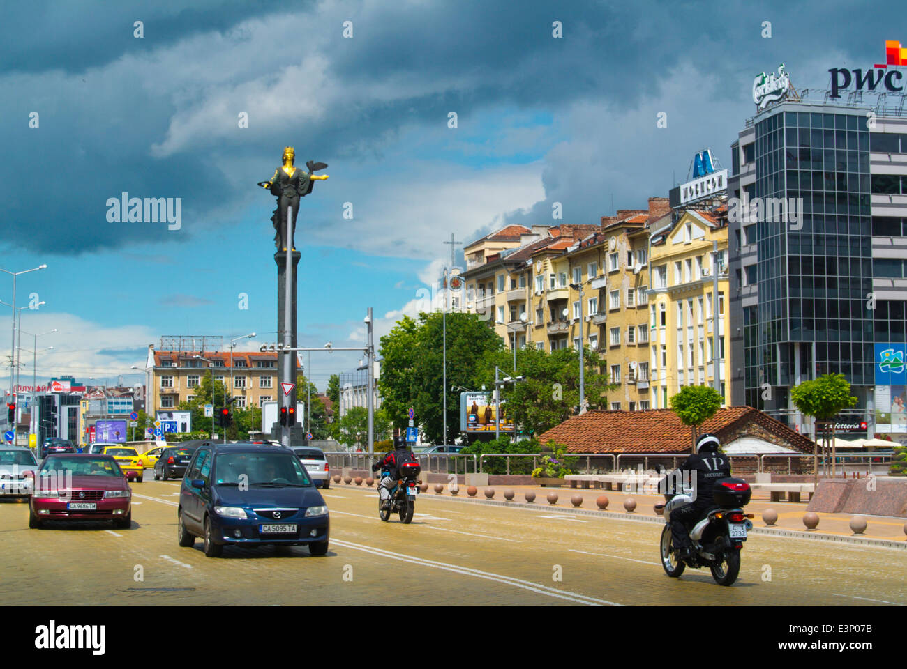 Traffic in Nezavisimost square, with Saint Sofia statue in background, central Sofia, Bulgaria, Europe Stock Photo
