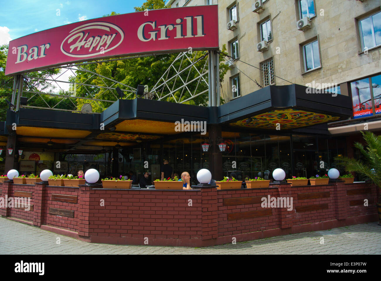 Happy Bar And Grill Restaurant In Main Street Central Sofia Stock Photo Alamy