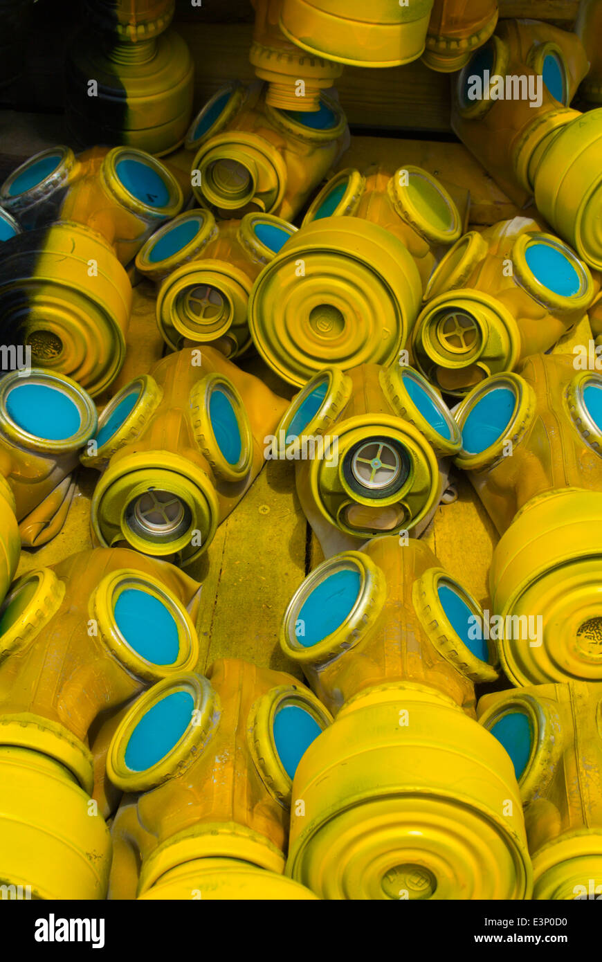 Gas mask sculpture made up of 400 gas masks on May 10 2014, NKD park, central Sofia, Bulgaria, Europe Stock Photo