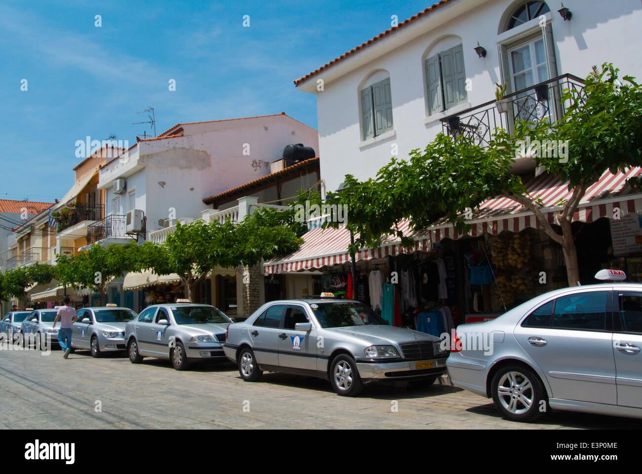 Taxis by harbour, Logotheti street, Pythagoreio, Samos, Aegean Sea, Greece, Europe Stock Photo