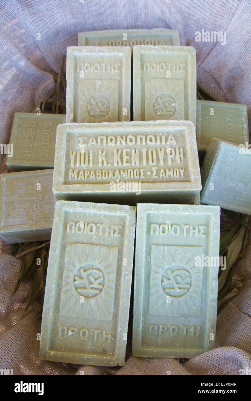 Olive oil soap bars, souvenir shop, Pythagoreio, Samos, Aegean Sea, Greece, Europe - Stock Image