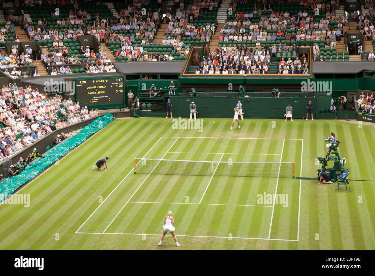 Ladies Singles match 2014 championship on Centre Court, Wimbledon, All England Lawn Tennis Club; Wimbledon London - Stock Image