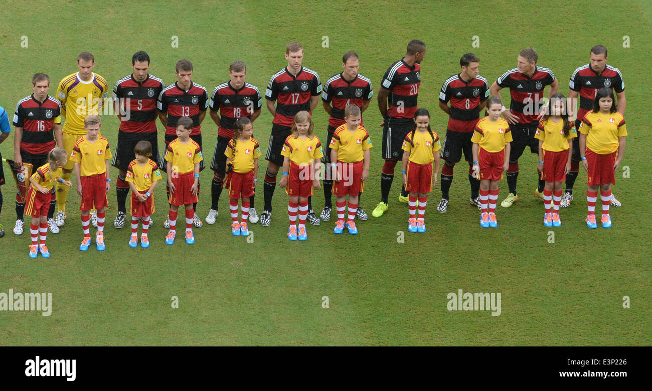 Recife, Brazil. 26th June, 2014. The German team during the national anthem prior to the FIFA World Cup group G - Stock Image