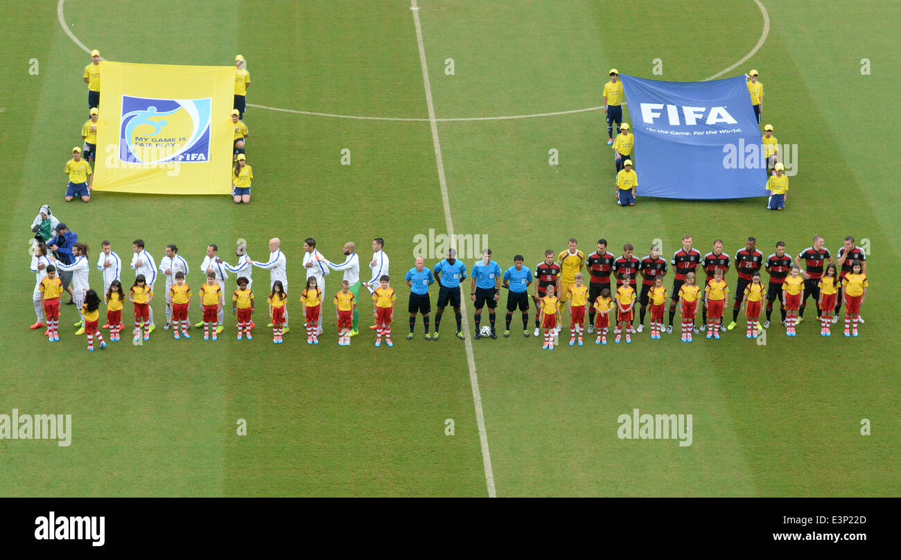 Recife, Brazil. 26th June, 2014. The US (L) and the German team during the national anthem prior to the FIFA World - Stock Image