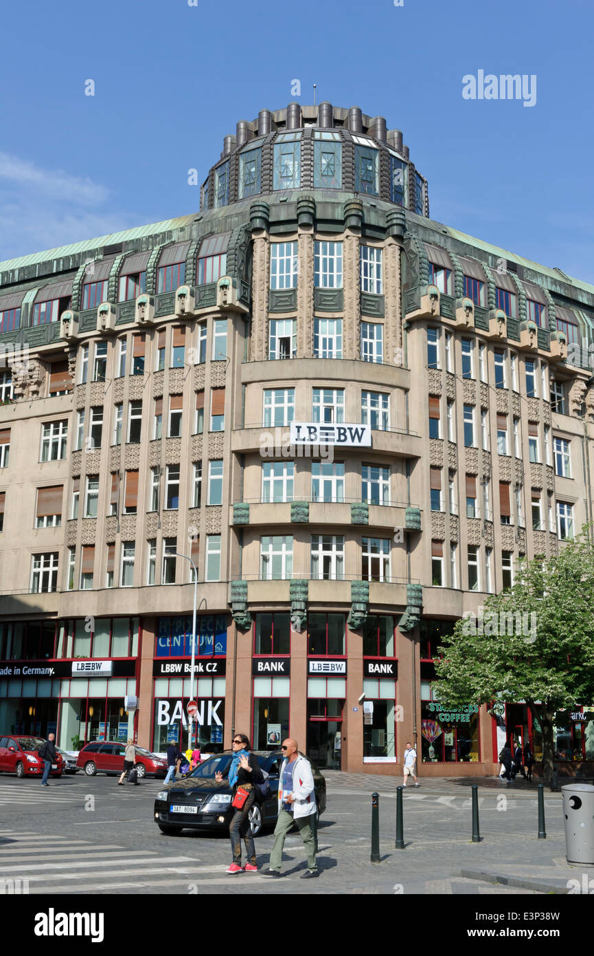 Modern LB Bank building in Wenceslas Square, Prague, Czech Republic. - Stock Image