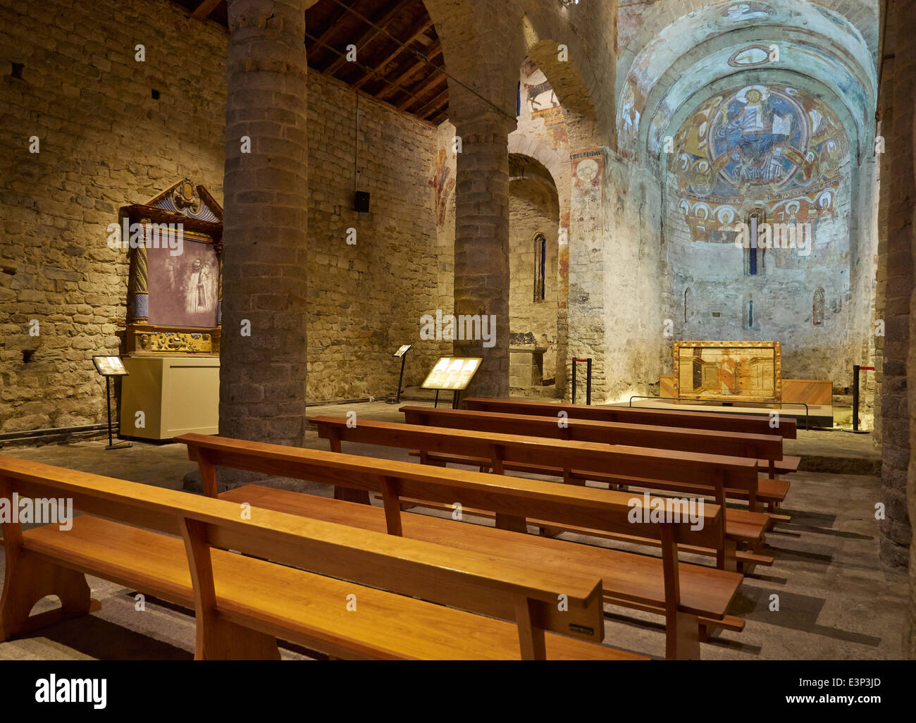 Sant Climent de Taull, Vall de Boi, Catalonia, Spain. Church interior. - Stock Image