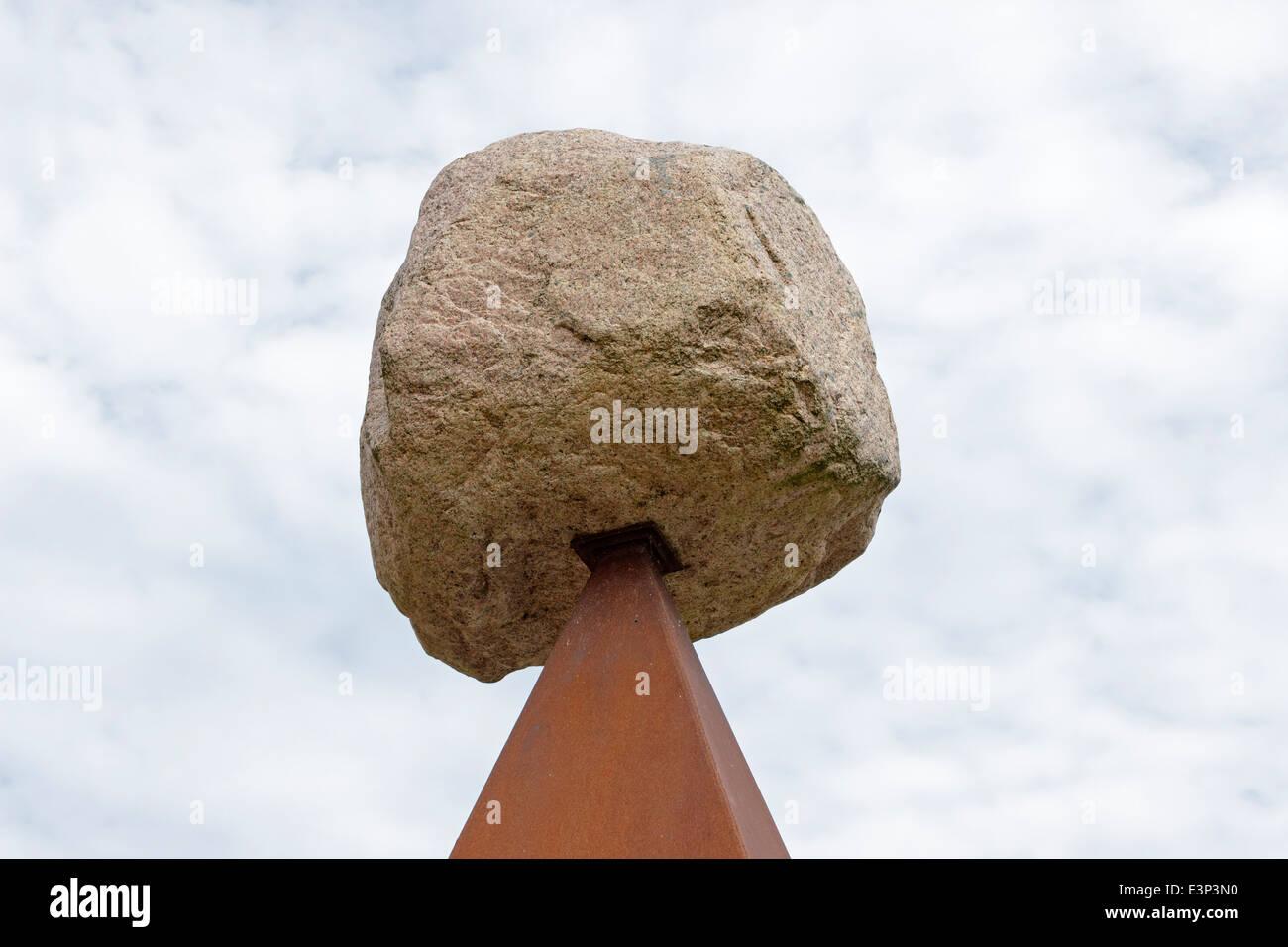 artwork with rock, Lauenburg, Schleswig-Holstein, Germany - Stock Image