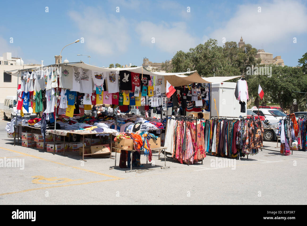 A market stall awaits tourists when they alight from there tour coach at Rabat on the Maltese Island of Gozo. - Stock Image