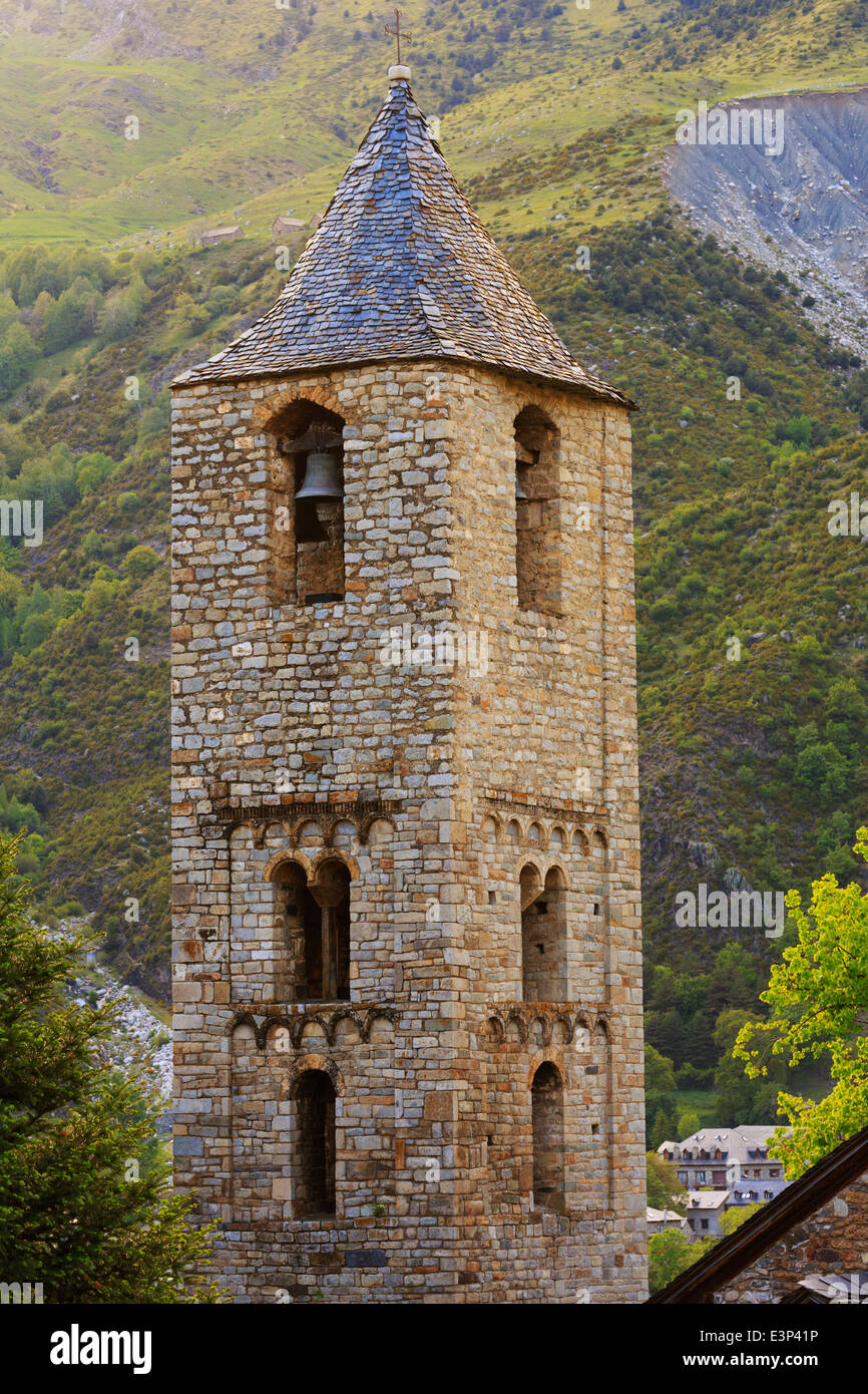 Belltower of the Church of Saint Joan de Boi in the Vall de Boi, Spain. One of 9 Early Romanesque churches in a - Stock Image