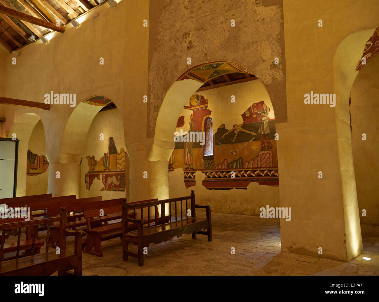 Church of Saint Joan de Boi in the Vall de Boi, Spain. Interior wall paintings. - Stock Image