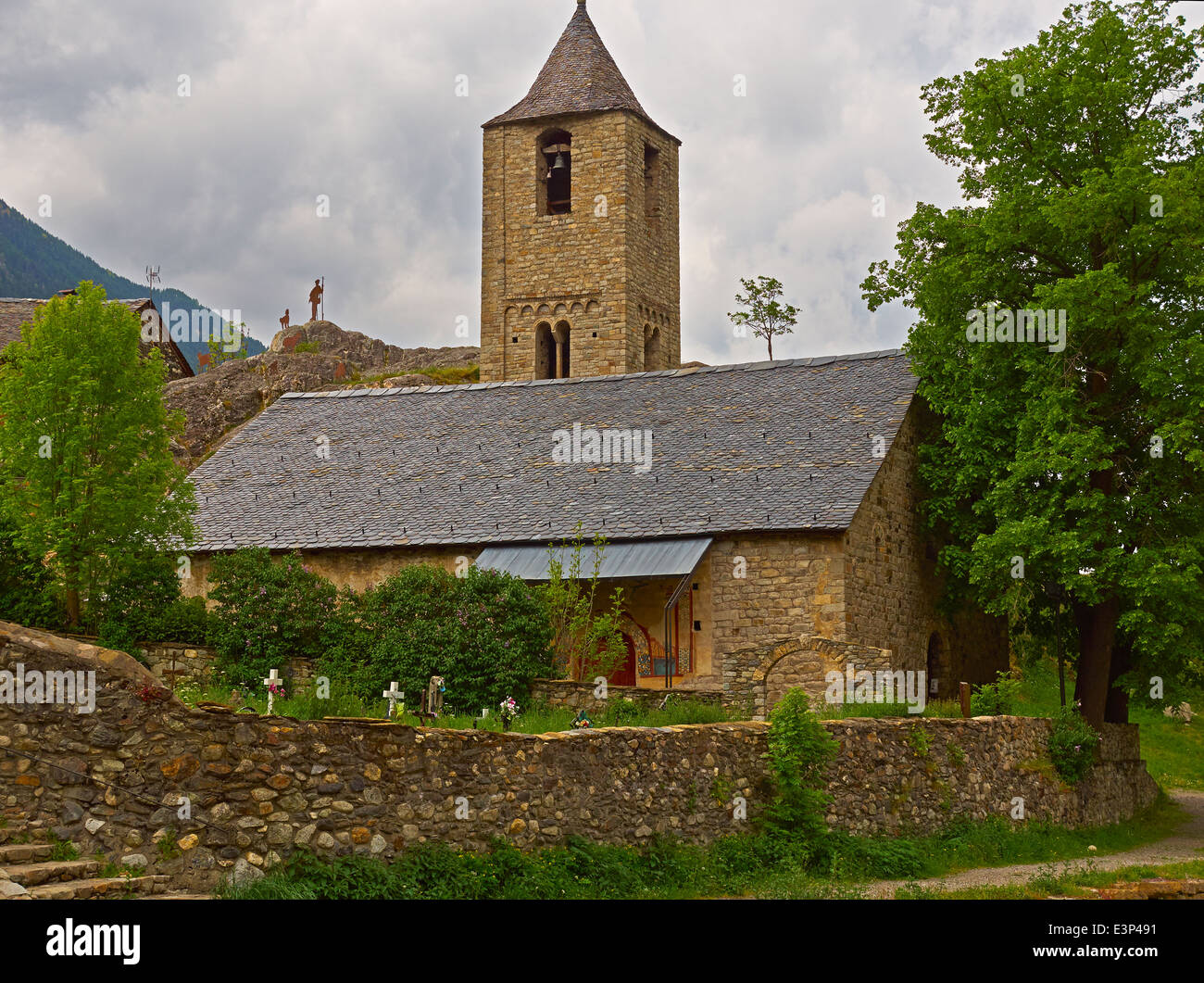 Church of Saint Joan de Boi in the Vall de Boi, Spain. One of 9 Early Romanesque churches in a remote valley - Stock Image
